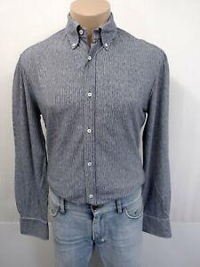 BRUNELLO CUCINELLI Designer Slim Fit Hemd Gr.M KW39 Kragen Grau Streifen Blau