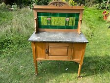 More details for antique washstand with green and floral art nouveau tiles and carved top