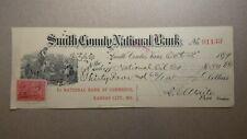 Check from Smith County National Bank of Kansas City, MO, 1899