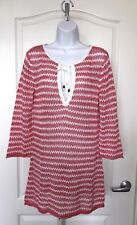 98a0a191cc Tommy Bahama Pink Striped Crochet Tunic Sweater Cover Up Medium Linen Cotton