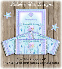 MERMAID UNDER THE SEA BIRTHDAY PARTY PERSONALISED CHOCOLATE WRAPPERS X 10