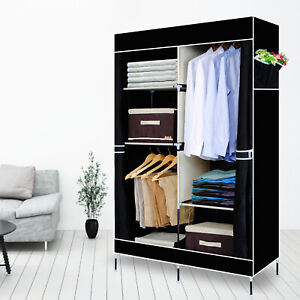 Double Fabric Canvas Clothes Storage Organiser Wardrobe Cupboard Shelves Cabinet
