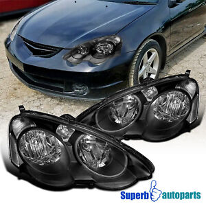 For 2002-2004 Acura RSX Headlights Head Lamps w/ Turn Signal Parking Lamps Black