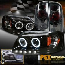 1997-2003 Ford F150 Halo Projector Smoked Black Headlights + Smoke Tail Light