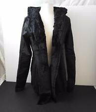 NWT Monoreno Women Faux Fur Imitation Leather Lined Hooded Jacket Black L R3