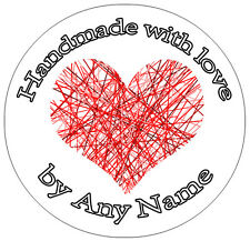 Personalised Handmade with love stickers ANY NAME - 24 Circular 45mm stickers
