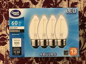 4 PACK LED 60W = 5.5W Daylight Dimmable 60 Watt Equivalent 5000K A19 E26 bulb