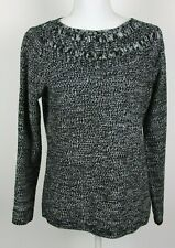 Croft & Barrow Womens Sweater Petite Medium Black White Knit Long Sleeve Soft