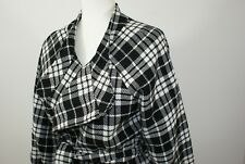 Worthington Womens L Wool Blend Black White Tweed Plaid Open Front Blazer Jacket