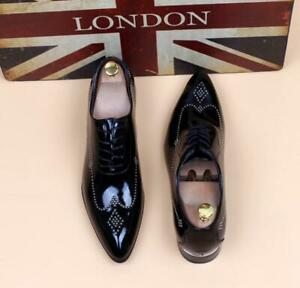 Mens British patent leather wedding Party pointy toe dress formal Lace Up Shoes