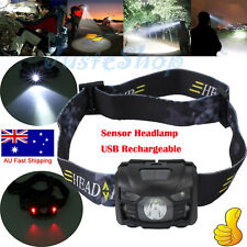 CREE LED Head Torch Headlight Lamp Camping Induction Headlamp USB Rechargeable