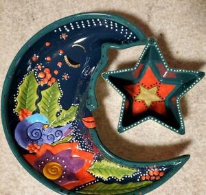 Vintage HTF Laurel Burch GANZ Serving Set Crescent Moon Shape  Colorful Whimsy