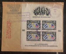 1940 Tegucigalpa Honduras Souvenir cover Panamerican Union To USA