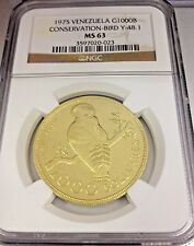 Venezuela 1975 Gold 1000 Bolivares Cock of the Rocks Conservation Bird NGC MS63