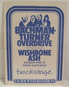 BACHMAN-TURNER OVERDRIVE / WISHBONE ASH - VINTAGE ORIGINAL 1970's BACKSTAGE PASS