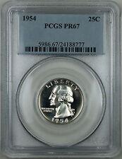 1954 Washington Silver Quarter, PCGS PR-67 Light Cameo, Superb Gem Proof Coin!