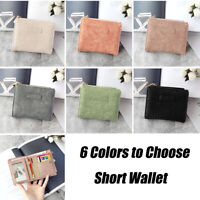 6 Colors Women Small Short PU Leather Wallet Mini Wallet Purse Girl Vintage Gift