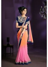 Women Bollywood Party Wear sari Saree Choli Salwar kameez Kurti Pink Peach Blue