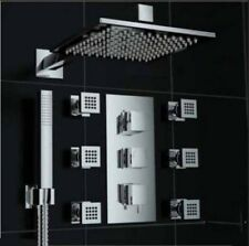"""Thermostatic Chrome Brass Shower Faucet 8""""Rain With 6 Massage Jets Hand Shower"""