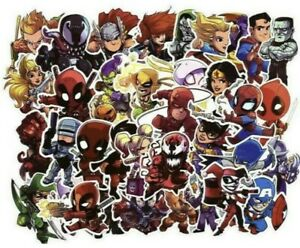 50 Marvel/DC Superhero Stickers Decorate Laptop Phone Books Tablets Party Mix 3