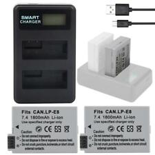 2 Batteries + LCD Dual Slots USB Battery Charger for Canon EOS 550D 600D 650D WN