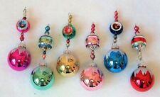 Radko Shiny Brite Glittered Xmas Vtg Mercury Glass Bead Icicle Garland Ornaments