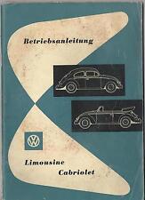 VW KÄFER Betriebsanleitung 1957 Bedienungsanleitung CABRIOLET LIMOUSINE  BA
