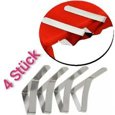 4X Tischdeckenhalter  Edelstahl Tischklammern Tischtuchhalter Tuchclips Klammern
