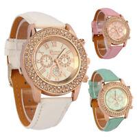 Vogue Women Lady Crystal Dial Quartz Analog Leather Bracelet Luxury Wrist Watch