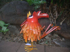 ORANGE METAL COUNTRY ROOSTER HOME OR GARDEN SCULPTURE