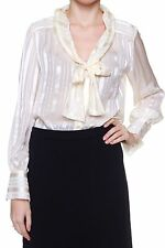 Gestreifte hüftlange Langarm Damenblusen, - tops & -shirts für Party-Anlässe