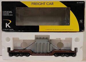 K-Line Train 6-21644 PRR 16-Wheel Depressed Center Flat Car W/ Transformer (703)
