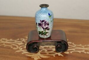 "Antique Japanese Meiji Mini 2,25"" Ginbari Cloisonne Vase,by Ota Toshiro,Rare"