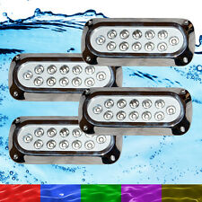 4 x 36W RGB Marine Underwater LED Boat Lights Multi-Colour + Remote VERY Bright