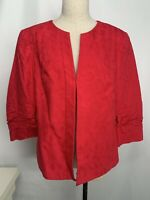 NWT Coldwater Creek Blazer Hook Front Jaquard Ruched Sleeves Sz 12 Misses $89