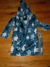 Boys Hatley Blue Bathrobe Sz M (SZ 4-5) Plush Fluffy Hooded Soft b09590cb2