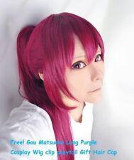 Gou Matsuoka Long Purple Cosplay Wig clip ponytail Gift+free wigs cap