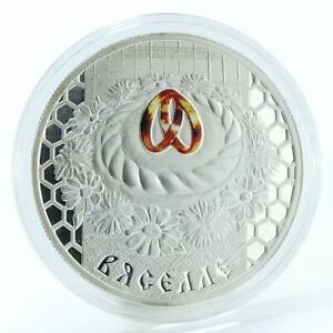 Belarus 20 Roubles Wedding colored rings silver coin 2006