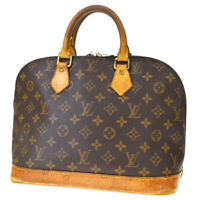 Authentic LOUIS VUITTON LV Alma Hand Bag Monogram Leather Brown M51130 64MD897
