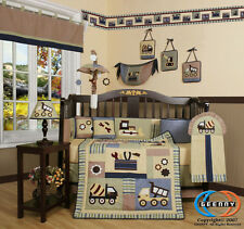 Boutique Baby Boy Constructor 14PCS CRIB BEDDING SET Inlcuding Lamp Shade