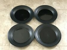 "Lot 4 Mikasa Swirl Black 11 1/4"" Diameter Large Dinner Plates"