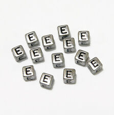 "6mm Silver Metallic Alphabet Beads Black Letter ""E"" 100pc"
