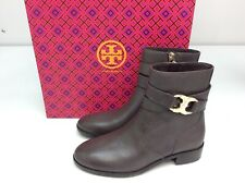 Tory Burch Gemini Link Ankle Boots Bootie Size 5.5 Coconut Brown Leather