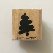 Mini Christmas Tree Rubber Stamp Stampin Up Sketch Holiday Winter Card Wood Mtd