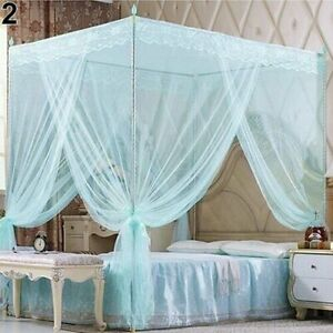 4 Corners Princess Lace Canopy Mosquito Nets No Frame For Queen King Bed Netting
