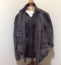 ALL SAINTS Belfast heavyweight cotton & leather jacket, size Small. Grey, Black.