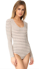 Madewell Stevie Striped Long Sleeve Heather Pebble Beige Bodysuit Size Small