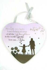 Daughter Plaque Heart Mirror with Verse Silhouette style Detail  Lilac & Beige