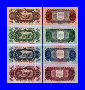 TANNU TUVA - 1,3,5,25  AKS-LOT OF 4 PIECES--- UNC  --COPY--NOT REAL--UNC---COPY