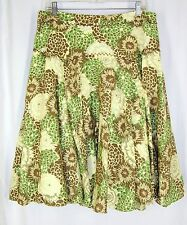 Antonio Melani Full Lined Skirt 14 Green Brown Floral